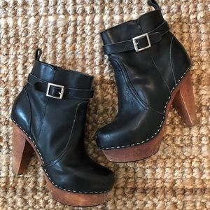 NYLA leather clog ankle boots